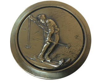 Vintage Skier Belt Buckle - Cross Country - Ski Skiing - Gift Idea - Tahoe Colorado Vail Aspen Park City - Mothers Day Gift Idea