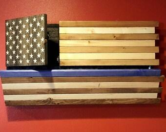 Gun Concealment Rustic Thin Blue Line American Flag Cabinet DUAL LOCKING DOORS