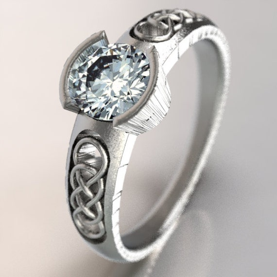 Celtic Moissanite With Interlinking Infinity Symbol Design in Sterling Silver, Made in Your Size CR-1029