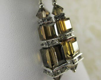 Swarovski Crystal Bronze Shade earthtone brown double stack Cube Earrings on Sterling Silver Fill Leverbacks