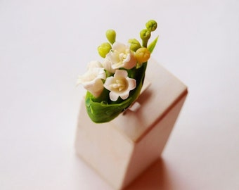 lily of the valley ring, small miniature - tiny flowers, lily of valley ring, Adjustable statement ring