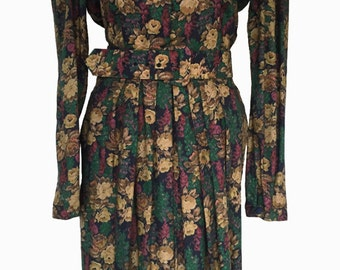 1980s Liz Claiborne Floral Dress, Nostalgic Muted Autumn Palette, Belt and Buttons