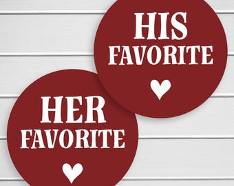 His Favorite Her Favorite Wedding Stickers, Favorites Wedding Favor Stickers, Wedding Favor Bag Sticker (#418-SS)