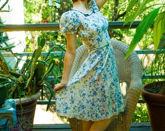 30s White Floral Day dress