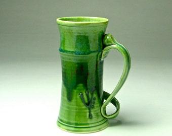 HUGE Beer Stein/ Super tall coffee mug/ handmade porcelain clay/ green drip glaze/ large 32 oz big cup/ wheel thrown pottery/ Gabriel Kline