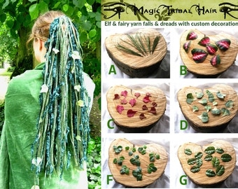 ELF FAIRY DREADLOCKS yarn hair falls with leaves Fantasy Renfaire hair extension Woodland Fairy cosplay Tribal Fusion Belly Dance accessory
