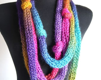 Double Rainbow Statement Knitted Chunky Cowl Lariat Scarf Necklace with Knots