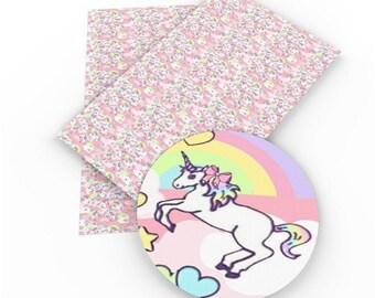 Unicorn Faux Leather ;Unicorn Vinyl Fabric ;Headband Bow Leather Sheets ;Blue Vinyl ;Vegan Leather;Bow Making Supply