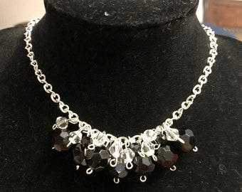 Silver, black and Crystal beaded cluster necklace. Perfect for prom