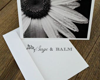 Black and white daisy floral blank photo card, floral greeting card, blank stationary, all occasion card, blank notecard, flower photography
