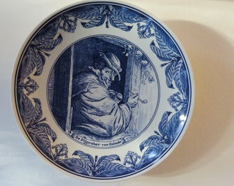 Delft Blue Schoonhoven Holland Wall board. 70 's. The pipe smoker of the... Vintage.