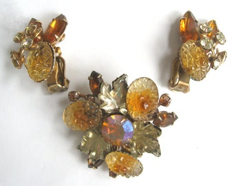 "Free Shipping to US. Vintage Amber/Orange/Yellow Art Glass Rhinestone ""Beau Jewels"" Brooch & Clip earrings Demi Parure - STUNNING!"