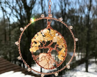 Sunshine, One of a Kind SunCatcher, Tree of Life, Sun Catcher, Citrine Gemstones Crystals, Wire Wrapped Tree, Window Decor, Wall Ornament