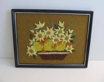 Crewel Art, Crewel, Vintage Crewel, Fiber Art, Wall Hangings, Art, Embroidery, Hand Stitched Art, Cabin Decor, Cabin, Cottage Decor, Camping