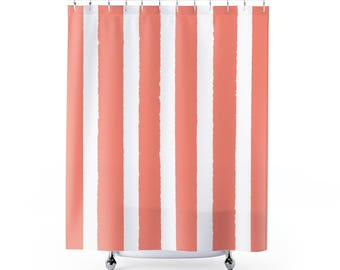 Peach Shower Curtain . Peach Striped Shower Curtain . Modern Peach Shower  Curtain . Shower Curtain