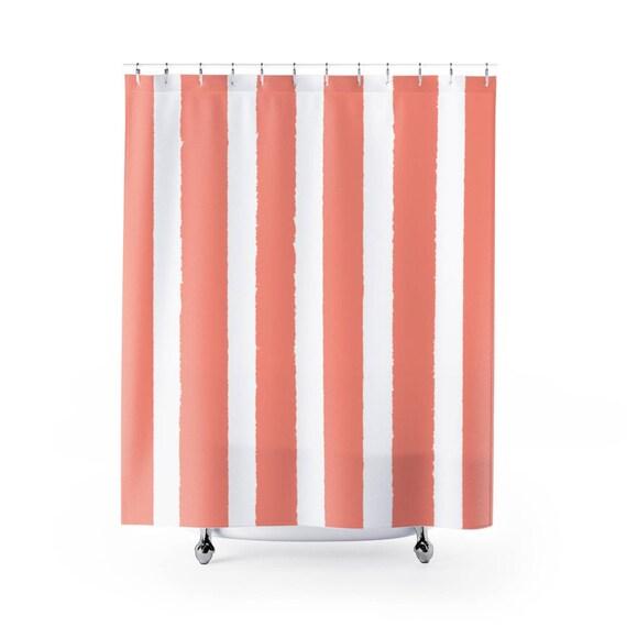 Peach Shower Curtain . Peach Striped Shower Curtain . Modern Peach Shower Curtain . Shower Curtain . Peach Striped Shower Curtain