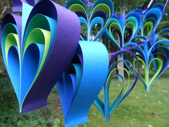 PEACOCK Heart Garland. 10 Hearts. Wedding, Shower Decoration, Home Decor. Custom Orders Welcome. Any Color Available.