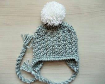Boy pom pom hat Baby boy winter hat Newborn pom pom hat Baby earflap hat  Gray baby hat Wool newborn hat Crochet newborn hat