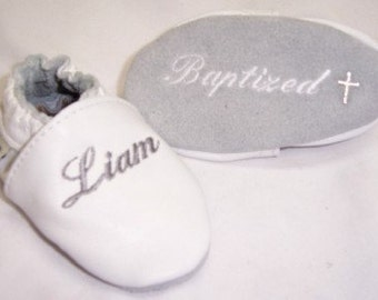 baby shoes baptism christening leather with name embroidered and cross on soles -baby girl baptism shoes - baby girl baptism gift