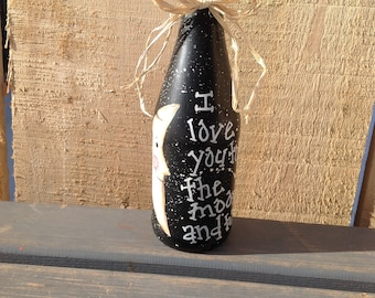 To The Moon And Back Bottle | Primitive Shelf Sitter | Home Decor