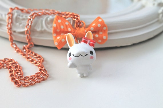 Necklace Miss Bunny kawaii Lolita orange bow