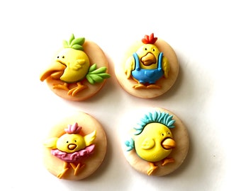 Chick Magnets, Yellow Chick Magnets, Cute Chick Magnets, Chick Fridge Magnets, Funky Chicken Magnets, Neodymium, Office Kitchen Decor