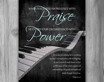 Worship leader gift etsy worship leader gift piano scripture art philippians 46 7 praise christian gift for negle Images