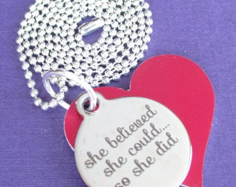 Necklace She believed she could and so she did saying inspirational red heart love charm necklace girls kids tween teen motivational jewelry