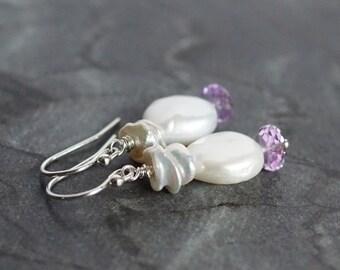 Freshwater pearl coin earrings, pearl drop earrings, keishi pearl earrings, bridal earrings, amethyst earrings, wedding jewelry, her gift