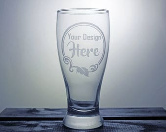 Custom Beer Glass - Logo - Etched Glass - Corporate Gifts - Company Logo - Gift Ideas - Gifts for Him - Gifts for Her - Personalized