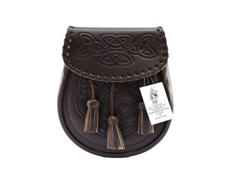 New Scottish Brown Celtic Embossed pattern leather Style Sporran with chain belt