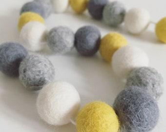 Mustard, grey and ivory felt ball garland