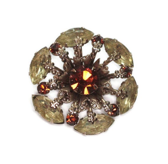 Rhinestone Brooch Golden Brown and Yellow Stones Atomic Style 1950s Vintage