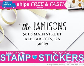 Family Custom Self Inking Return Address Stamp - Free Shipping - Matching address labels available HBLN2770