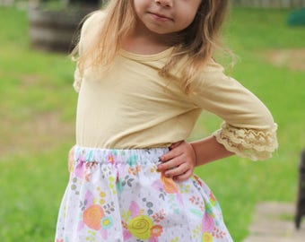 Delicious Spring Floral  Skirt ( 18 mos, 24 mos, 2T, 3T, 4T, 5, 6, 7, 8, 10)