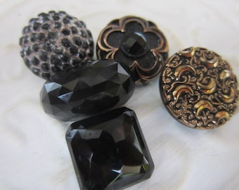 Vintage Buttons - lot of 5 jet black, pressed assorted designs Victorian, some with luster (lot jan 100-17)