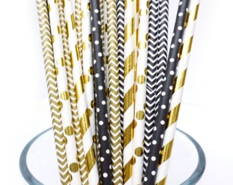 Black and Gold Party Decor, Black and Gold Straws, Black Paper Straws, Graduation Party Decor, Black and Gold Wedding, Bridal Bachelorette