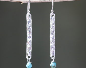 Sterling silver bar earrings with hammer textured and turquoise beads on silver hooks style