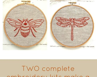 Embroidery Kit Pair {sand + chestnut}