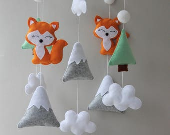 fox mobile woodland mobile forest mobile woodland nursery felt mobile nursery mobile baby mobile mobile baby crib mobile cot mobile mobile