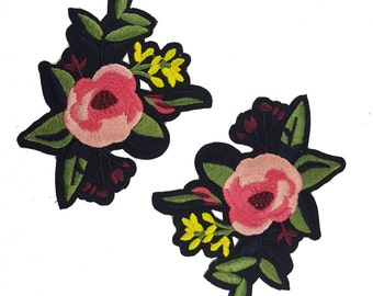 Iron On Embroidered Roses Patches, Pink Flower Appliques, Glue on Flowers, Garment Decor