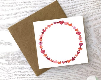 Red Hearts Watercolour Square Card