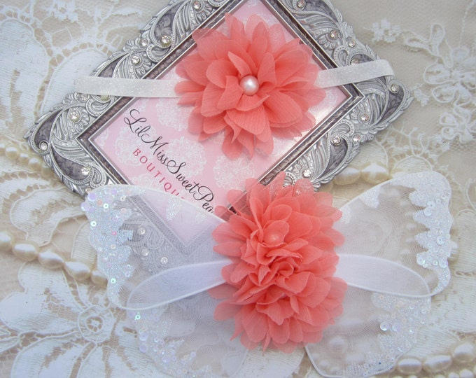 Peach AND/OR white glitter wings, purchase headband only, wings only or the set, newborn photos, photo prop, newborn by Lil Miss Sweet Pea