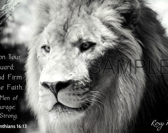 Be On Your Guard, Stand Firm -1 Corinthians 16:13 Lion Frame