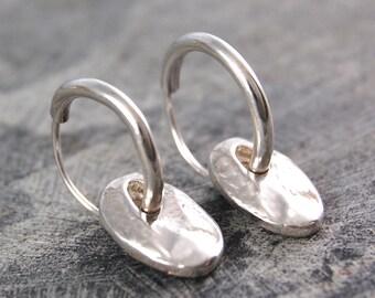 Hoops - Hoop Earrings - Boho Earrings - Sterling Silver Earrings - Hammered Earrings - Organic Earrings - Small Hoop Earrings - Simple Hoops