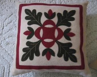 "Wool Appliqué  ""Oak Leaf"" Throw Pillow"