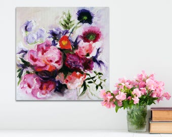 """Oil Painting Flowers Abstract Art Original // """"Enchanting"""" 16 x 16"""" on Canvas"""