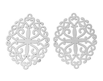 x 2 connectors carved oval silver steel metal stamp.
