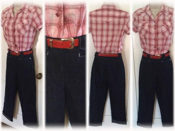 "1950s Dark Denim High Waist Western Cowgirl Jeans with Arrow Belt Loops Pearl Snap Pockets Side Metal Zipper-24"" Waist"