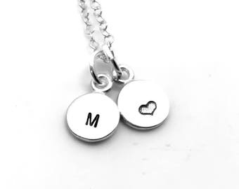 Mini Initial Necklace with Heart, Sterling Silver, Tiny Initial, Hand Stamped Jewelry, Heart Necklace, Letter M Necklace, All Letters Avail
